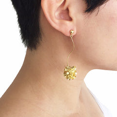 Hydrangea Dangle Gold Sterling Silver Earrings