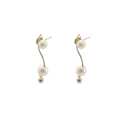Curved Bar With Trio Mini Akuya Pearl 18k Gold Studs