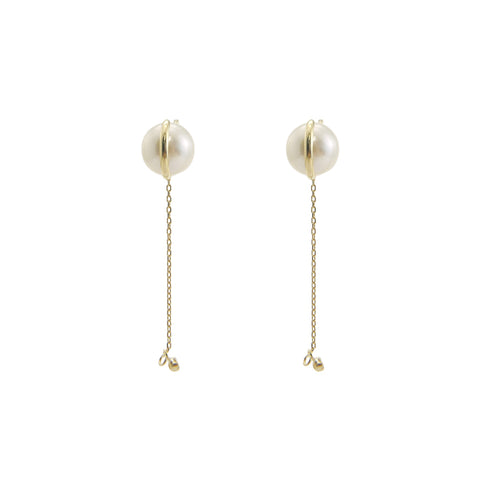 Akuya Pearl With Mini Diamond Chain 18k Gold Studs