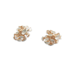 Flower Heart Rose Gold Sterling Sliver Studs
