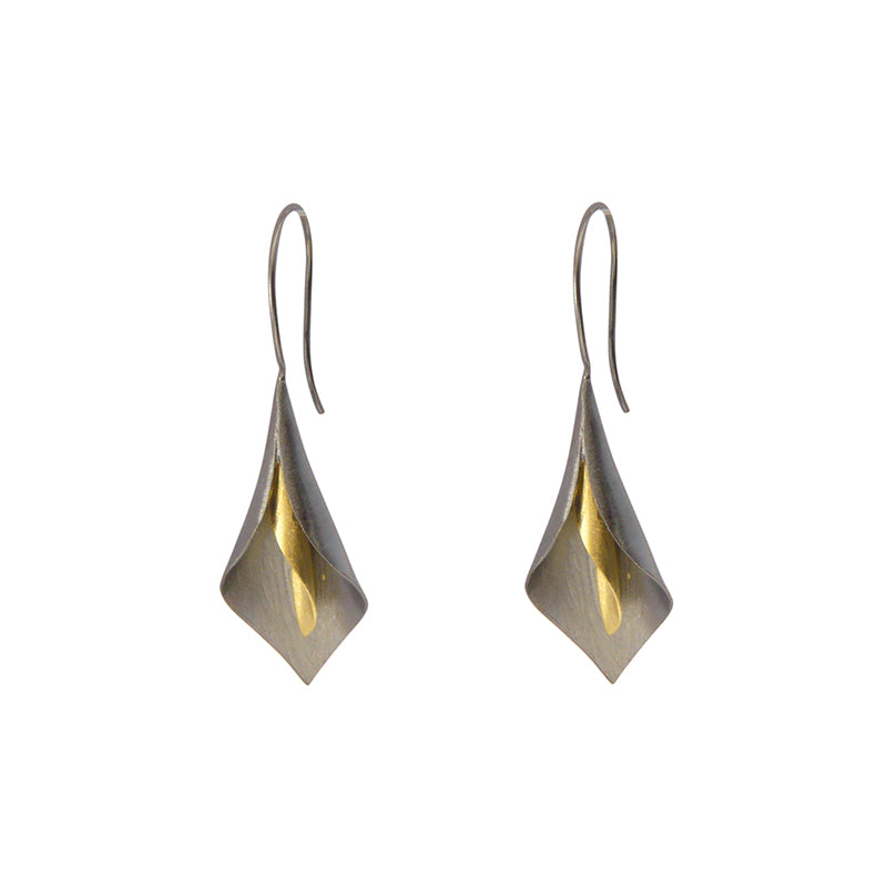 Lantern Flower Sliver Sterling Gold Black Pull-Thru Earrings