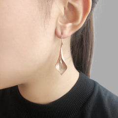 Curved Pedal Rose Gold Sterling Drop Earrings