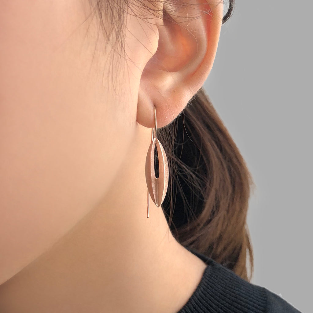 Lantern Flower Rose Gold Sterling Sliver Pull-Thru Earrings