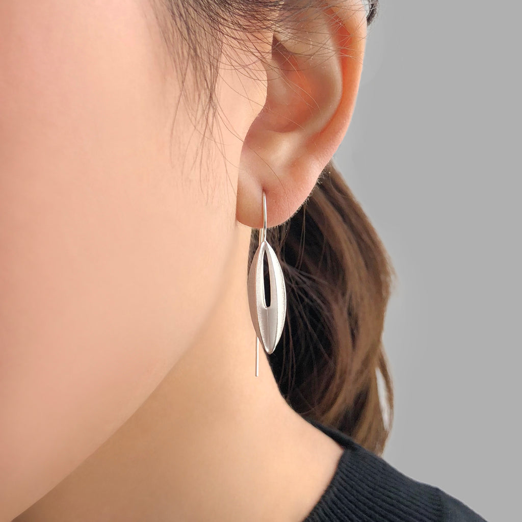 Lantern Flower Sliver Sterling Sliver Pull-Thru Earrings