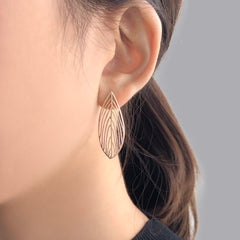 Cutout Leaf Pedal Rose Gold Sterling Sliver Studs