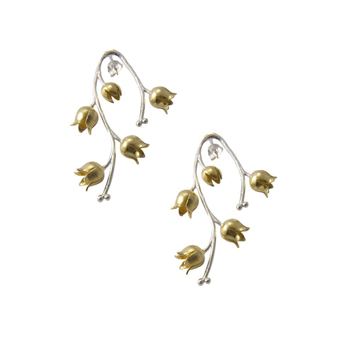 Gold Flower branches silver Steling Silver studs
