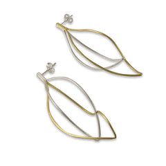 Curved cutout waterdrop Gold Sterling Silver Earrings