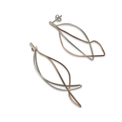 Curved cutout waterdrop Rose Gold Sterling Silver Earrings