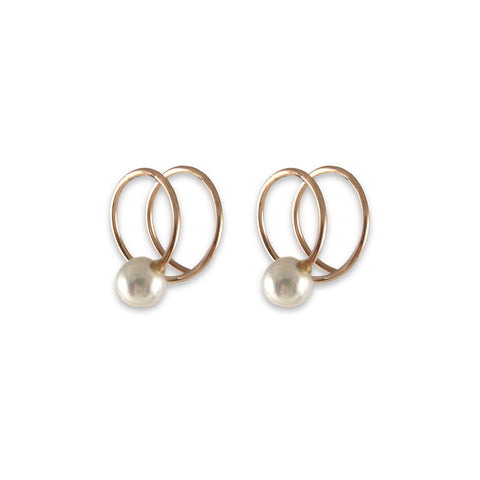 Curved Ribbon with Pearl Rose Gold Sterling Silver Earrings