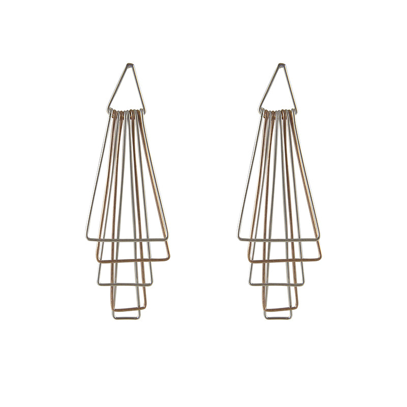 Top Cutout Triangle Rose Gold Sterling Silver Earrings