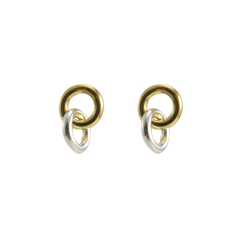 Duo Circle Gold Sterling silver Earrings