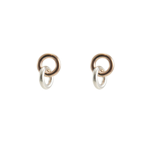 Duo Circle Rose Gold Sterling silver Earrings