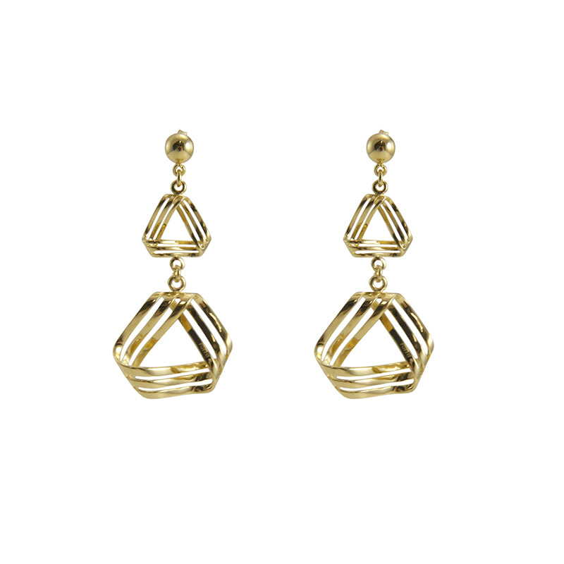 triple triangle Gold Sterling silver earrings