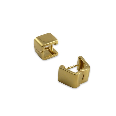 3D square Gold Sterling Silver Earrings