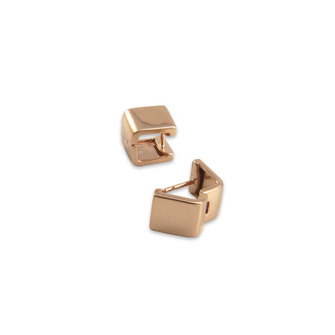 3D square Rose Gold Sterling Silver Earrings