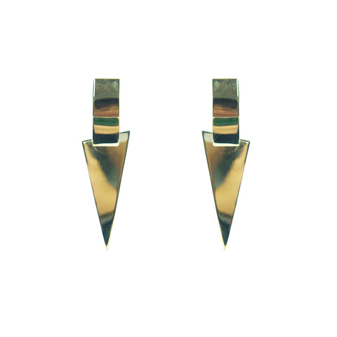 3D Pyramid Gold Sterling Silver Earrings
