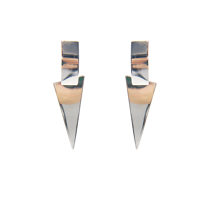 3D Pyramid Rose Gold Sterling Silver Earrings