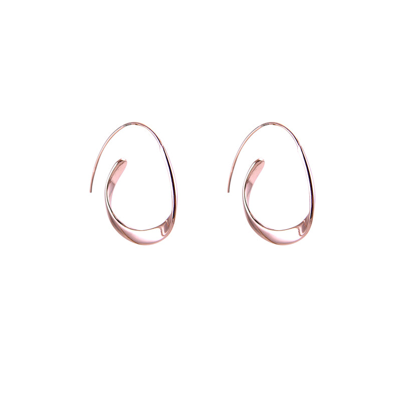 Concentric Random Circles Rose Gold Sterling Silver Earrings