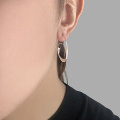 Concentric Random Circles Sterling Silver Earrings