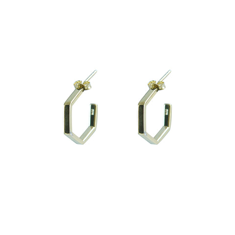 3D Pentagon Gold Sterling Silver Earrings
