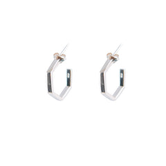 3D Pentagon Rose Gold Sterling Silver Earrings