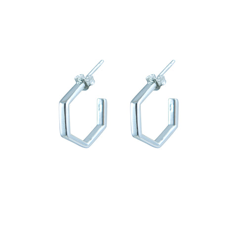 3D Pentagon Silver Sterling Silver Earrings