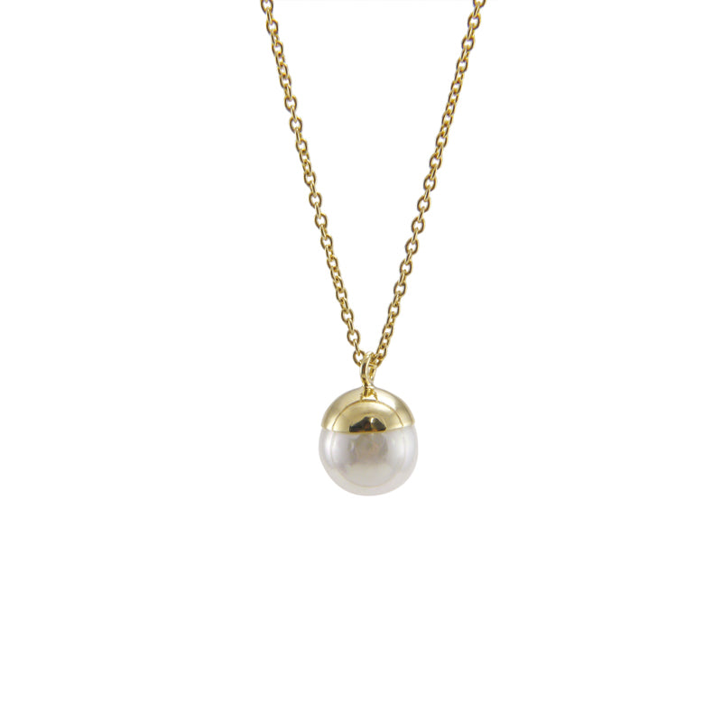 Simple Pearl Pendant Gold Sterling Silver Short Necklace