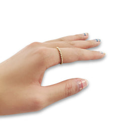 Basic Tiny Round Ball Gold Sterling Silver Ring