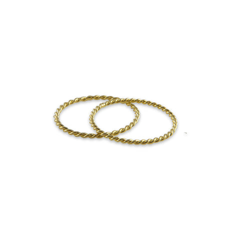 Basic wrist Pattern Set of 2 Gold Sterling Silver Ring