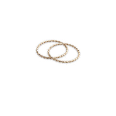 Basic wrist Pattern Set of 2 Rose Gold Sterling Silver Ring