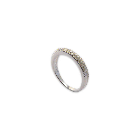 Shinny Stone Basic Round Sterling Silver Ring