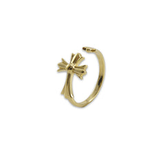 3D cross Gold Ring