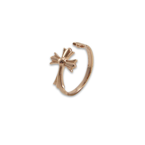 3D cross Rose Gold Ring
