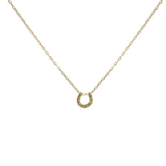Diamond 0.1k U Shape 18K real Gold short necklace
