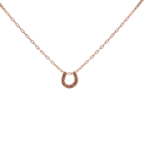 Diamond 0.1k U Shape 18K real Rose Gold short necklace