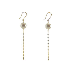 18K Real Gold Ayuka Pearl Pull Thru Earrings