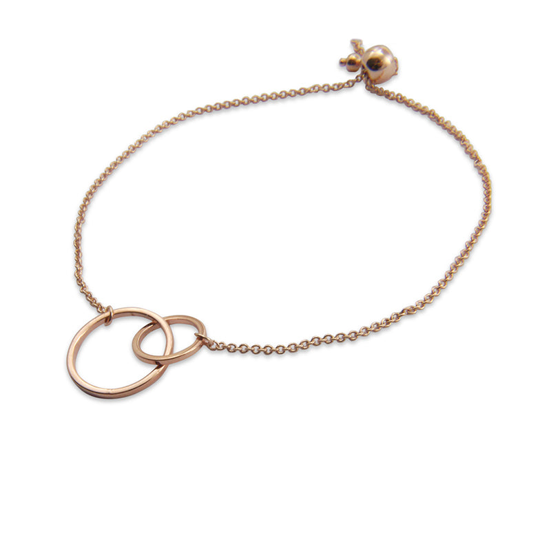 Duo Cutout Circle Rose Gold Bracelet