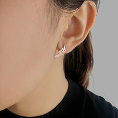 Drop Leaf Rose Gold Studs