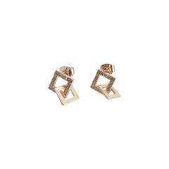 Duo Cutout Square Rose Gold Studs