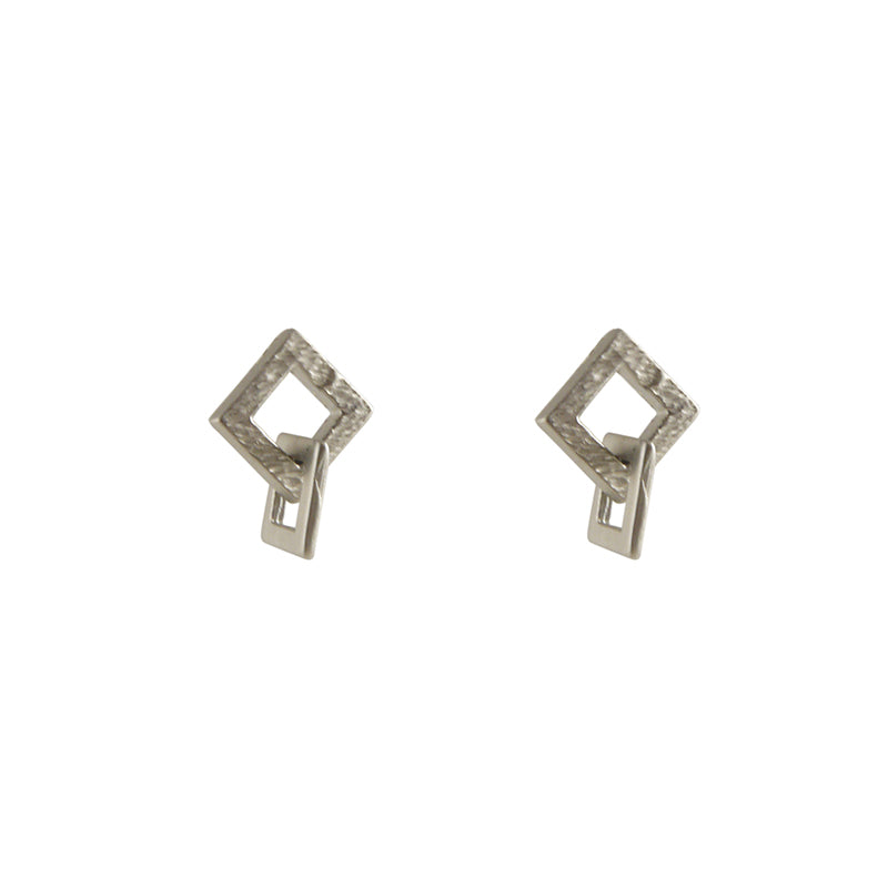 Duo Cutout Square Silver Studs