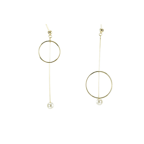 Cut-off Circle With Pearl Pierced Earrings