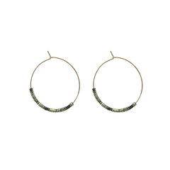 Cuout Circle & Green Beads Gold Loop Earrings