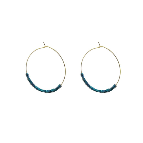 Cuout Circle & Blue Beads Gold Loop Earrings