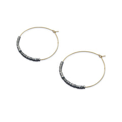 Cuout Circle & Grey Beads Gold Loop Earrings