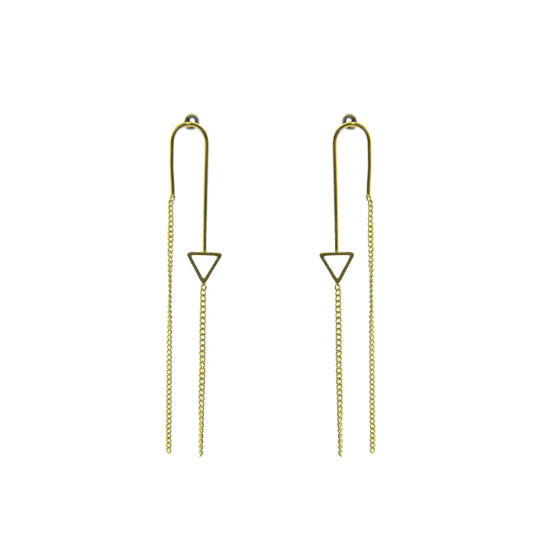Tiny Cutout Triangle With Chain Gold Pierced Earrings