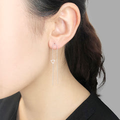 Tiny Cutout Triangle With Chain Sliver Pierced Earrings