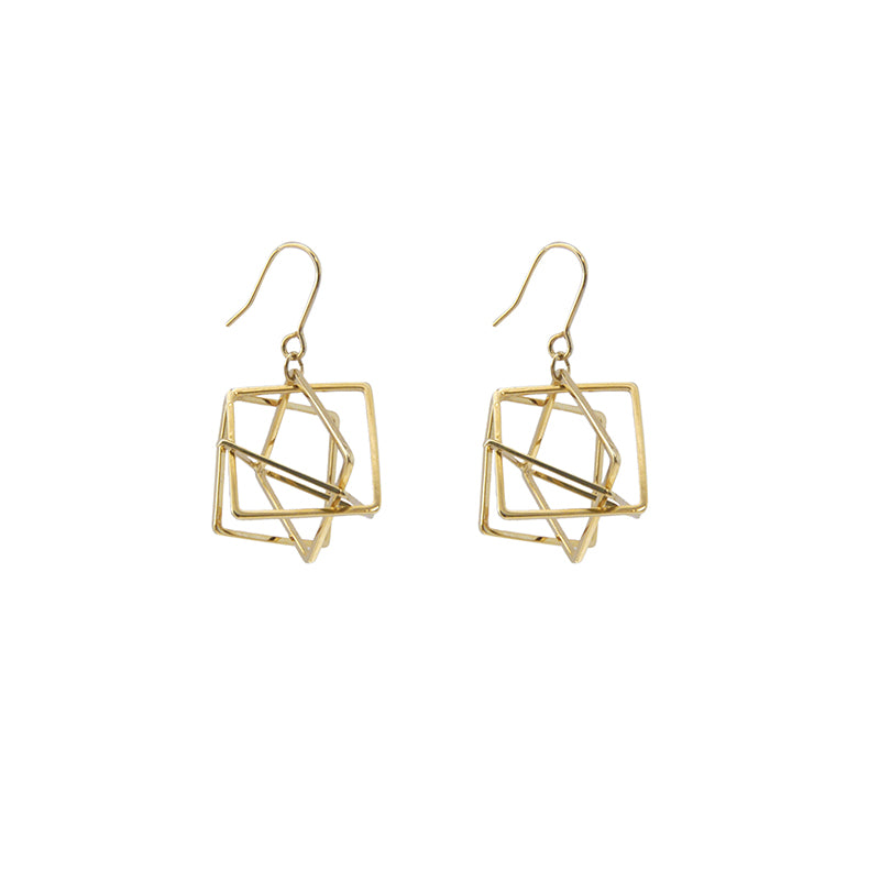 Three-Dimensional Triangle Gold Earrings