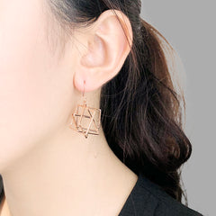 Three-Dimensional Triangle Rose Gold Earrings