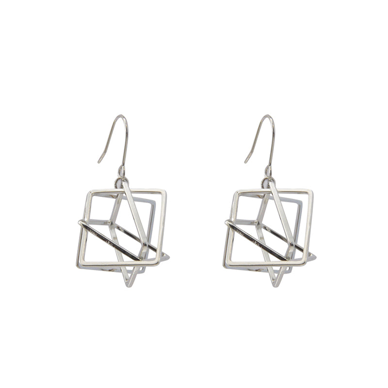 Three-Dimensional Triangle Sliver Earrings