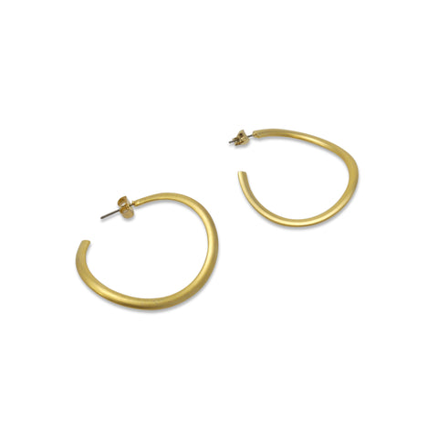 Unbalanced Circle Gold Loop Earrings